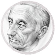 Jacques-yves Cousteau Round Beach Towel