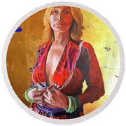 Jade Lady  Life On The Edge Round Beach Towel