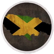 Jamaica Country Flag Map Round Beach Towel