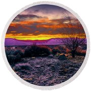 January Sunrise Round Beach Towel