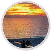 January Sunset - Vertirama Round Beach Towel