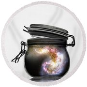 Jar Of Galaxy Round Beach Towel