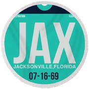 Jax Jacksonville Luggage Tag II Round Beach Towel