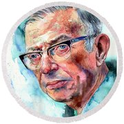 Jean-paul Sartre Portrait Round Beach Towel