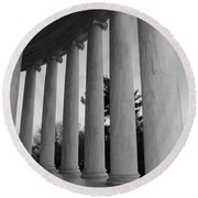 Jefferson Memorial In Black And White Round Beach Towel