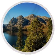 Round Beach Towel featuring the photograph Jenny Lake by Pete Federico