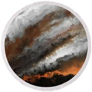 Round Beach Towel featuring the painting Jeremiah 20 9 Fire In My Heart by Mark Lawrence