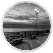Jersey Shore In Winter Round Beach Towel