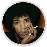 Jimi Hendrix With Cigarette Round Beach Towel