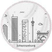 Johannesburg Cityscape Travel Poster Round Beach Towel
