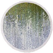 Round Beach Towel featuring the painting John 15 5. Abide In Me by Mark Lawrence