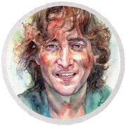 John Lennon Smiling Round Beach Towel