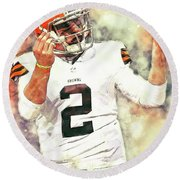 Johnny Manziel Round Beach Towel