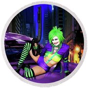 Joker The Color Purple Round Beach Towel