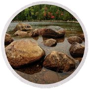 Jordon Pond Boulders Round Beach Towel
