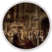 Jose Maria Romero / 'alfonso Xii Contemplating In The Royal Chapel The Incorrupt Body Of San Fern... Round Beach Towel