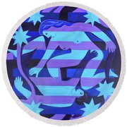 Round Beach Towel featuring the painting Joy by Denise Weaver Ross