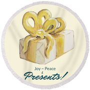 Joy, Peace And Presents Round Beach Towel