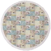 Joyful Little Fawns Collage Round Beach Towel
