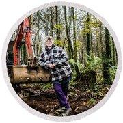 Julie Hillman - Female Gravedigger Round Beach Towel