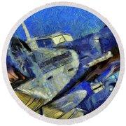 Junkers Ju 52 Van Gogh Round Beach Towel