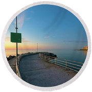 Jupiter Inlet Jetty Looking South Round Beach Towel