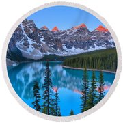 Just After Sunrise At Moraine Lake Round Beach Towel
