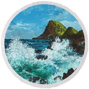 Kahekili Leap Round Beach Towel