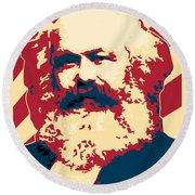 Karl Marx Cccp Retro Propaganda  Round Beach Towel