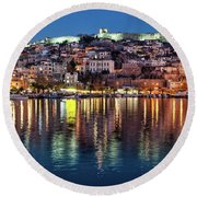 Kavala Town At Night Round Beach Towel