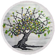 Round Beach Towel featuring the drawing Kayaker Love Tree Art by Aaron Bombalicki