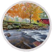 Round Beach Towel featuring the photograph Kent Falls Autumn 2018 by Bill Wakeley