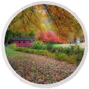 Round Beach Towel featuring the photograph Kent Falls Covered Bridge by Bill Wakeley