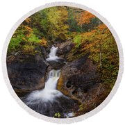 Round Beach Towel featuring the photograph Kent Falls Foliage 2 by Bill Wakeley