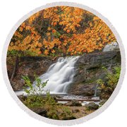 Round Beach Towel featuring the photograph Kent Falls Foliage 3 by Bill Wakeley