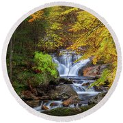 Round Beach Towel featuring the photograph Kent Falls Foliage Square by Bill Wakeley