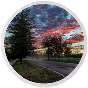 Round Beach Towel featuring the photograph Keswick Sunset by Lori Coleman