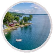 Keuka Boat Day Round Beach Towel