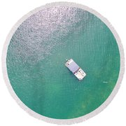 Keuka Lake Boating Round Beach Towel
