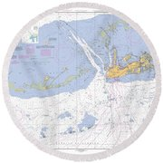 Key West Harbor And Approaches, Noaa Chart 11441 Round Beach Towel
