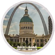 Round Beach Towel featuring the photograph Kiener Plaza by Andrea Silies