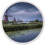 Kinderdijk Dark Sky Round Beach Towel