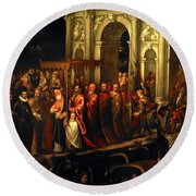 King Henry IIi Of France Being Received In Venice In 1574, 16th Century, Oil On Canvas. Round Beach Towel