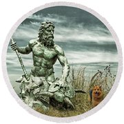Round Beach Towel featuring the photograph King Neptune And Miss Hanna At Cape Charles by Bill Swartwout Fine Art Photography