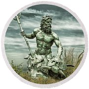Round Beach Towel featuring the photograph King Neptune Guards The Cape Charles Beach by Bill Swartwout Fine Art Photography