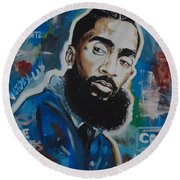 King Nipsey Round Beach Towel