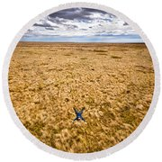 Round Beach Towel featuring the photograph King Of The Hill by Carl Young