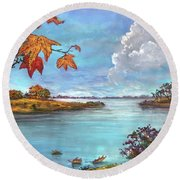 Kites, Clouds And Sailboats Round Beach Towel