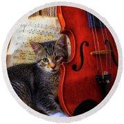 Kitten And Violin Round Beach Towel