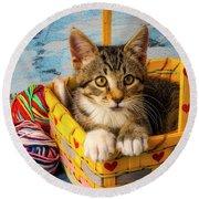 Kitten In Yellow Basket With Yarn Round Beach Towel